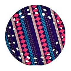 Purple And Pink Retro Geometric Pattern Ornament (Round Filigree)