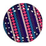 Purple And Pink Retro Geometric Pattern Ornament (Round Filigree)  Front