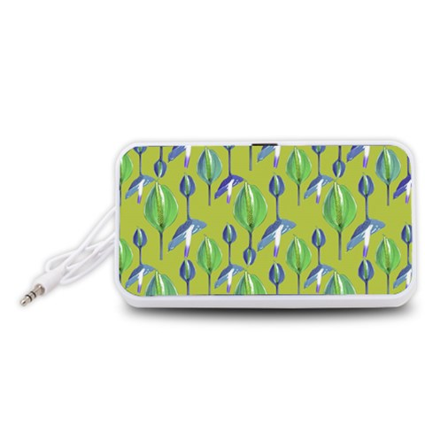 Tropical Floral Pattern Portable Speaker (White)