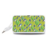 Tropical Floral Pattern Portable Speaker (White)  Front