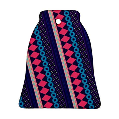 Purple And Pink Retro Geometric Pattern Bell Ornament (2 Sides)