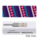 Purple And Pink Retro Geometric Pattern Memory Card Reader (Stick)  Front