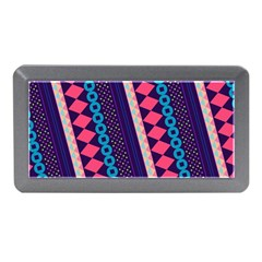 Purple And Pink Retro Geometric Pattern Memory Card Reader (mini)