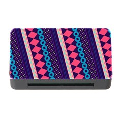 Purple And Pink Retro Geometric Pattern Memory Card Reader with CF