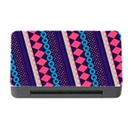 Purple And Pink Retro Geometric Pattern Memory Card Reader with CF Front