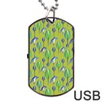 Tropical Floral Pattern Dog Tag USB Flash (Two Sides)  Front