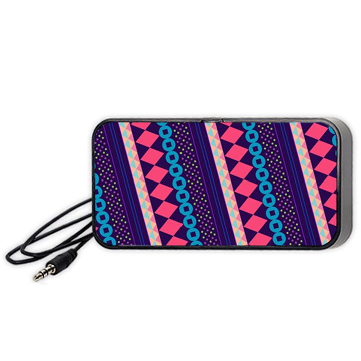 Purple And Pink Retro Geometric Pattern Portable Speaker (Black)