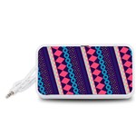 Purple And Pink Retro Geometric Pattern Portable Speaker (White)  Front