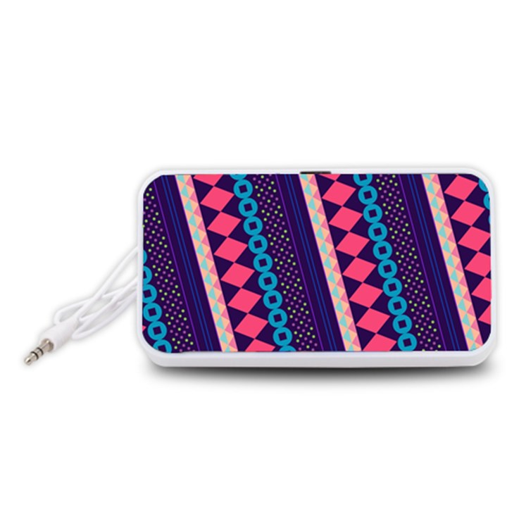 Purple And Pink Retro Geometric Pattern Portable Speaker (White)