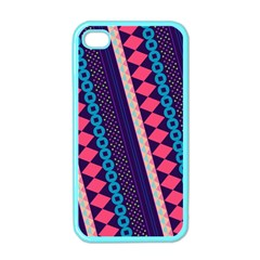 Purple And Pink Retro Geometric Pattern Apple Iphone 4 Case (color)