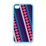 Purple And Pink Retro Geometric Pattern Apple iPhone 4 Case (Color) Front