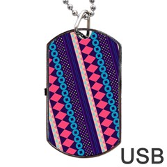 Purple And Pink Retro Geometric Pattern Dog Tag Usb Flash (one Side)