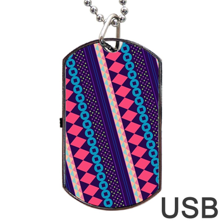 Purple And Pink Retro Geometric Pattern Dog Tag USB Flash (Two Sides)