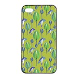 Tropical Floral Pattern Apple iPhone 4/4s Seamless Case (Black) Front
