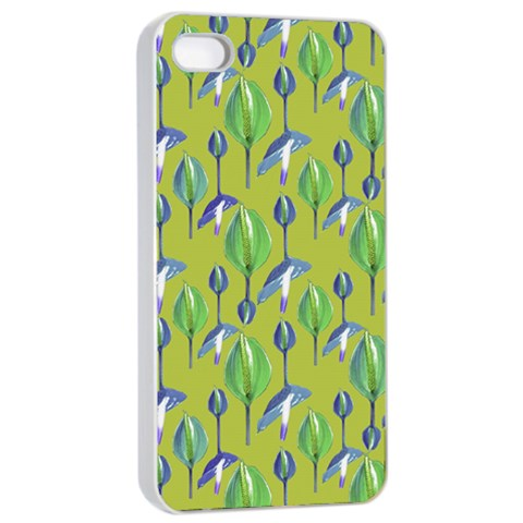Tropical Floral Pattern Apple iPhone 4/4s Seamless Case (White)