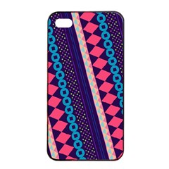 Purple And Pink Retro Geometric Pattern Apple Iphone 4/4s Seamless Case (black)