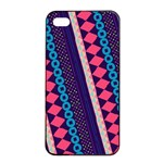 Purple And Pink Retro Geometric Pattern Apple iPhone 4/4s Seamless Case (Black) Front