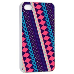 Purple And Pink Retro Geometric Pattern Apple Iphone 4/4s Seamless Case (white)