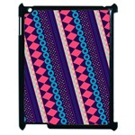 Purple And Pink Retro Geometric Pattern Apple iPad 2 Case (Black) Front