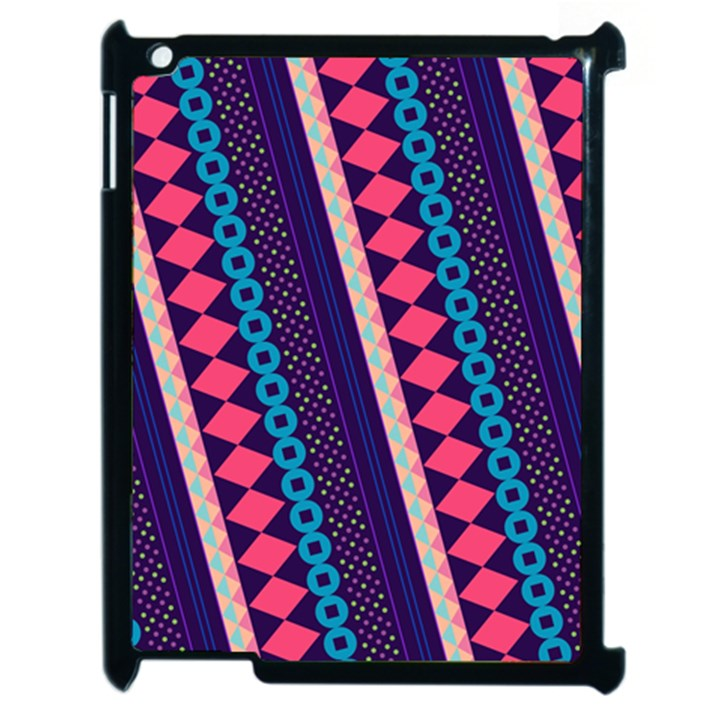 Purple And Pink Retro Geometric Pattern Apple iPad 2 Case (Black)
