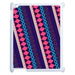 Purple And Pink Retro Geometric Pattern Apple iPad 2 Case (White) Front