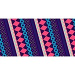 Purple And Pink Retro Geometric Pattern Twin Hearts 3D Greeting Card (8x4) Front