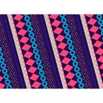 Purple And Pink Retro Geometric Pattern LOVE Bottom 3D Greeting Card (7x5) Back