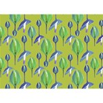 Tropical Floral Pattern Ribbon 3D Greeting Card (7x5) Back
