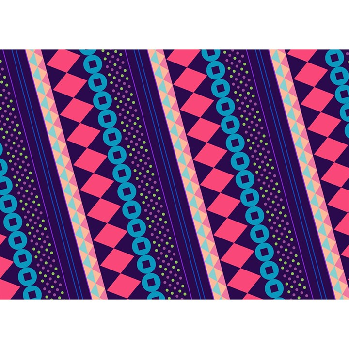 Purple And Pink Retro Geometric Pattern Birthday Cake 3D Greeting Card (7x5)