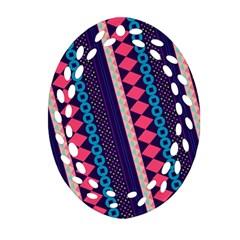 Purple And Pink Retro Geometric Pattern Ornament (Oval Filigree)