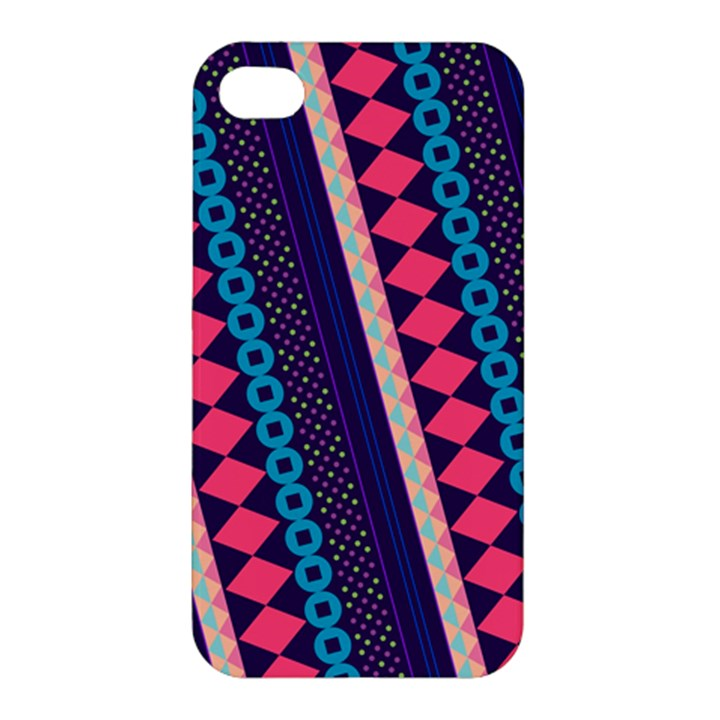Purple And Pink Retro Geometric Pattern Apple iPhone 4/4S Hardshell Case