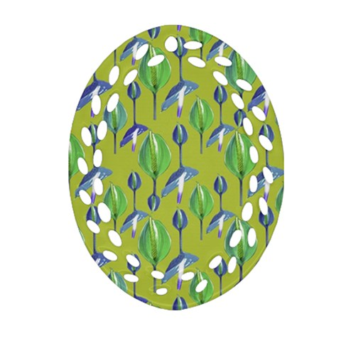 Tropical Floral Pattern Ornament (Oval Filigree)