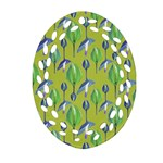 Tropical Floral Pattern Oval Filigree Ornament (2-Side)  Front