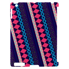 Purple And Pink Retro Geometric Pattern Apple iPad 2 Hardshell Case (Compatible with Smart Cover)