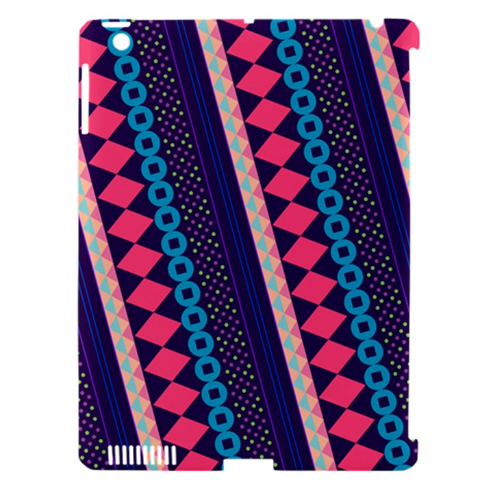 Purple And Pink Retro Geometric Pattern Apple iPad 3/4 Hardshell Case (Compatible with Smart Cover)