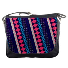 Purple And Pink Retro Geometric Pattern Messenger Bags