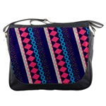 Purple And Pink Retro Geometric Pattern Messenger Bags Front
