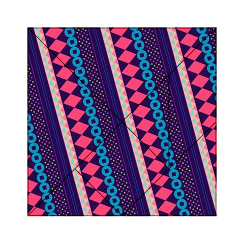 Purple And Pink Retro Geometric Pattern Acrylic Tangram Puzzle (6  x 6 )