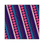 Purple And Pink Retro Geometric Pattern Acrylic Tangram Puzzle (6  x 6 ) Front
