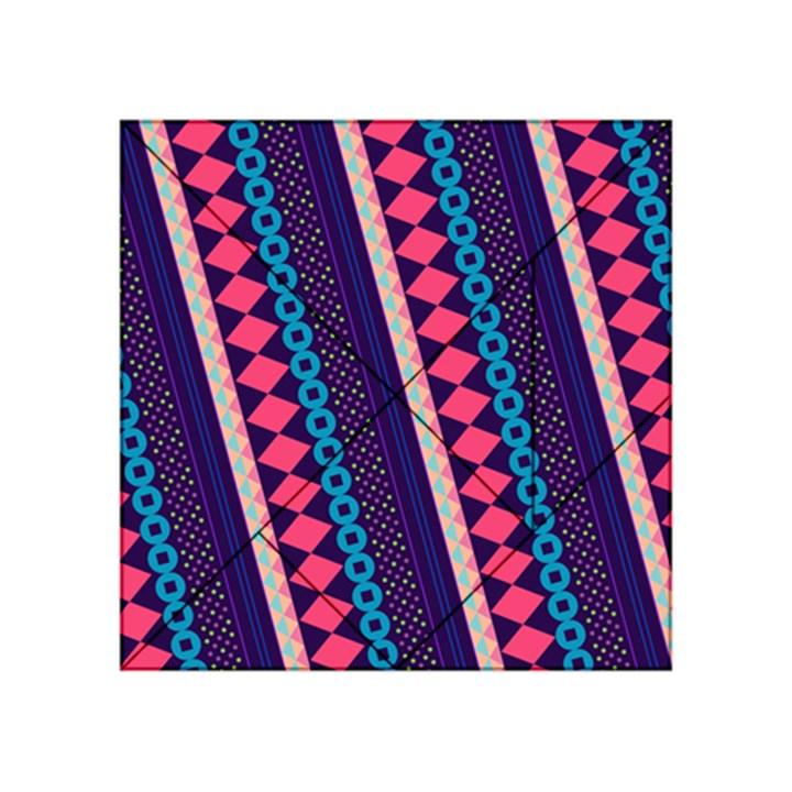 Purple And Pink Retro Geometric Pattern Acrylic Tangram Puzzle (4  x 4 )