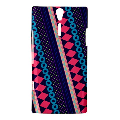 Purple And Pink Retro Geometric Pattern Sony Xperia S