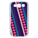 Purple And Pink Retro Geometric Pattern Samsung Galaxy S III Case (White) Front