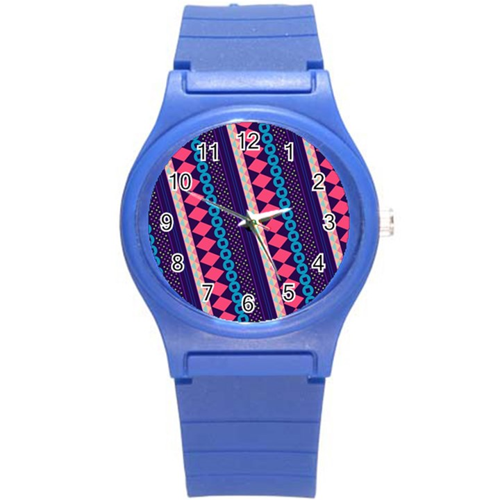 Purple And Pink Retro Geometric Pattern Round Plastic Sport Watch (S)