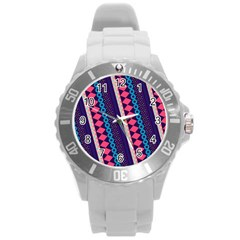 Purple And Pink Retro Geometric Pattern Round Plastic Sport Watch (L)