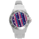 Purple And Pink Retro Geometric Pattern Round Plastic Sport Watch (L) Front