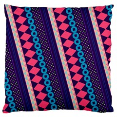 Purple And Pink Retro Geometric Pattern Large Cushion Case (One Side)
