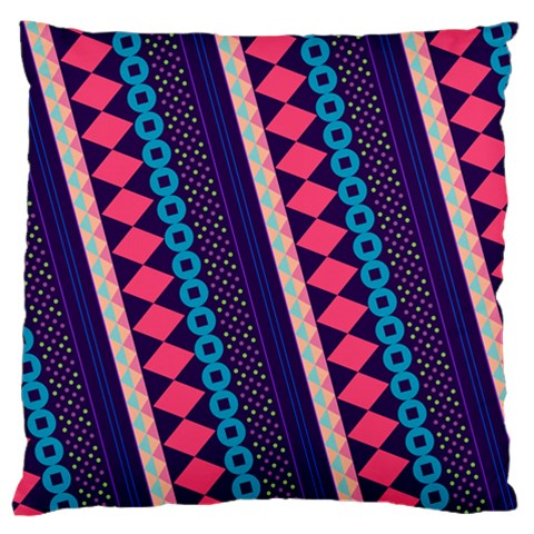 Purple And Pink Retro Geometric Pattern Large Cushion Case (Two Sides)