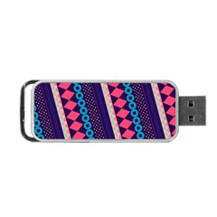 Purple And Pink Retro Geometric Pattern Portable Usb Flash (one Side)