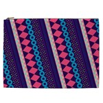 Purple And Pink Retro Geometric Pattern Cosmetic Bag (XXL)  Front