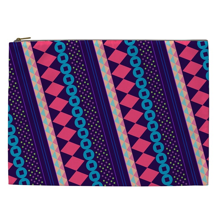 Purple And Pink Retro Geometric Pattern Cosmetic Bag (XXL)